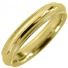 MENS WEDDING BAND ENGAGEMENT RING YELLOW GOLD COMFORT FIT MILGRAIN 4mm