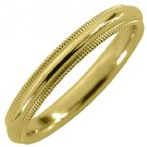MENS WEDDING BAND ENGAGEMENT RING YELLOW GOLD COMFORT FIT MILGRAIN 3mm