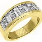 MENS 3.5 CARAT PRINCESS SQUARE CUT DIAMOND RING WEDDING BAND 18KT YELLOW GOLD