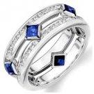 DIAMOND & BLUE SAPPHIRE ETERNITY BAND WEDDING RING SQUARE CUT 14KT WHITE GOLD
