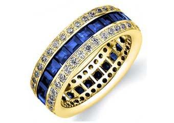 DIAMOND & BLUE SAPPHIRE ETERNITY BAND WEDDING RING PRINCESS CUT 14K YELLOW GOLD