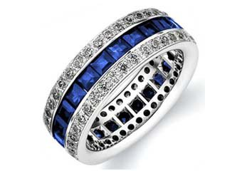DIAMOND & BLUE SAPPHIRE ETERNITY BAND WEDDING RING PRINCESS CUT 14KT WHITE GOLD