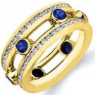 IAMOND & BLUE SAPPHIRE ETERNITY BAND WEDDING RING ROUND CUT YELLOW GOLD 2.2 CTS