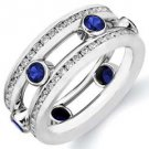 DIAMOND & BLUE SAPPHIRE ETERNITY BAND WEDDING RING ROUND CUT WHITE GOLD 2.2 CTS