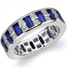 DIAMOND & BLUE SAPPHIRE ETERNITY BAND WEDDING RING PRINCESS CUT WHITE GOLD
