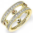 DIAMOND & CITRINE ETERNITY BAND WEDDING RING ROUND PRINCESS CUT YELLOW GOLD