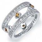 DIAMOND & CITRINE ETERNITY BAND WEDDING RING ROUND PRINCESS CUT WHITE GOLD