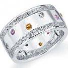 DIAMOND PINK SAPPHIRE CITRINE ETERNITY BAND WEDDING RING ROUND CUT WHITE GOLD