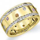 DIAMOND PINK SAPPHIRE CITRINE ETERNITY BAND WEDDING RING ROUND CUT YELLOW GOLD