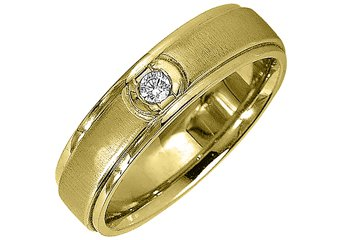 MENS .08CT SOLITAIRE BRILLIANT ROUND DIAMOND RING WEDDING BAND 14KT YELLOW GOLD