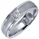 MENS .08 CARAT SOLITAIRE ROUND CUT DIAMOND RING WEDDING BAND 14KT WHITE GOLD