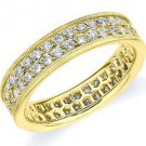 DIAMOND ETERNITY BAND WEDDING RING ROUND CUT YELLOW GOLD 1 CARAT 2-ROW PRONG SET