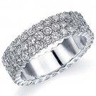 WOMENS DIAMOND ETERNITY BAND WEDDING RING ROUND 14KT WHITE GOLD 3-ROW PRONG SET