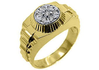 MENS .45CT BRILLIANT ROUND CUT SHAPE DIAMOND RING 14KT YELLOW GOLD