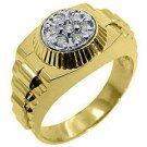 MENS .45CT BRILLIANT ROUND CUT SHAPE DIAMOND RING 14KT YELLOW GOLD