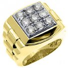 MENS 1.75 CARAT BRILLIANT ROUND CUT SQUARE SHAPE DIAMOND RING 14KT YELLOW GOLD