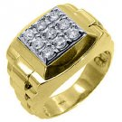 MENS .70CT BRILLIANT ROUND CUT SQUARE SHAPE DIAMOND RING 14KT YELLOW GOLD