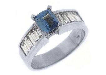 WOMENS TANZANITE DIAMOND ENGAGEMENT RING 2.2 CARAT EMERALD CUT 14KT WHITE GOLD