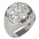 MENS 2.5 CARAT DIAMOND CLUSTER RING BRILLIANT ROUND CUT 7 STONE 14KT WHITE GOLD