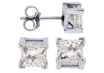 2.45 CARAT PRINCESS SQUARE CUT DIAMOND STUD EARRINGS 14KT WHITE GOLD
