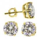3 CARAT BRILLIANT ROUND CUT DIAMOND STUD EARRINGS 14KT YELLOW GOLD