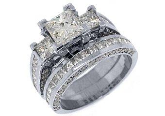 4 CARAT DIAMOND ENGAGEMENT RING WEDDING BAND BRIDAL SET PRINCESS CUT WHITE GOLD