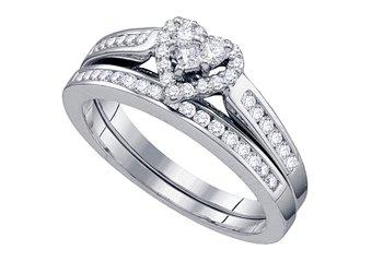 HEART SHAPE DIAMOND ENGAGEMENT PROMISE HALO RING WEDDING BAND BRIDAL SET 14KT