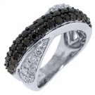 WOMENS BLACK DIAMOND RING WEDDING BAND RIGHT HAND 1.45 CARAT ROUND WHITE GOLD