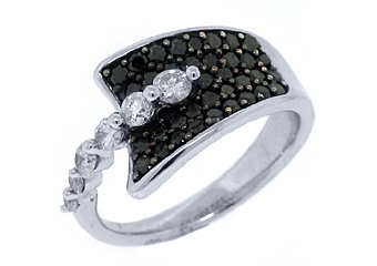 WOMENS BLACK DIAMOND RING WEDDING BAND RIGHT HAND 1.15 CARAT ROUND WHITE GOLD