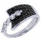 WOMENS BLACK DIAMOND RING WEDDING BAND RIGHT HAND 1.15 CARAT ROUND WHITE GOLD