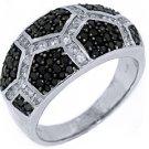 WOMENS BLACK DIAMOND RING WEDDING BAND RIGHT HAND 1.06 CARAT ROUND WHITE GOLD