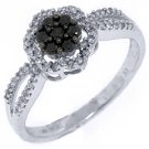WOMENS LADIES BLACK DIAMOND ENGAGEMENT PROMISE RING 1/3 CARAT ROUND WHITE GOLD