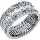 WOMENS DIAMOND ETERNITY BAND WEDDING RING BAGUETTE CUT 3 CARATS 950 PLATINUM
