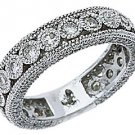 WOMENS DIAMOND ETERNITY BAND WEDDING RING ROUND CUT BEZEL SET 950 PLATINUM
