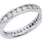 WOMENS DIAMOND ETERNITY BAND WEDDING RING ROUND CUT CHANNEL SET 950 PLATINUM