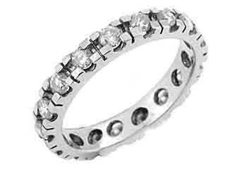 WOMENS DIAMOND ETERNITY BAND WEDDING RING ROUND CUT 1 CARAT 950 PLATINUM
