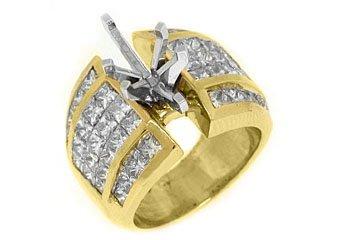 4 CARAT WOMENS DIAMOND ENGAGEMENT RING SEMI-MOUNT MARQUISE CUT YELLOW GOLD