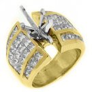 4 CARAT WOMENS DIAMOND ENGAGEMENT RING SEMI-MOUNT MARQUISE CUT YELLOW GOLD