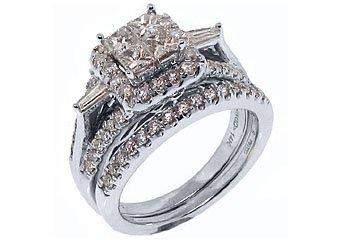1.56CT WOMENS DIAMOND ENGAGEMENT RING WEDDING BAND BRIDAL SET SQUARE WHITE GOLD