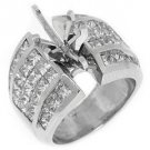 4 CARAT WOMENS DIAMOND ENGAGEMENT RING SEMI-MOUNT SQUARE MARQUISE 950 PLATINUM