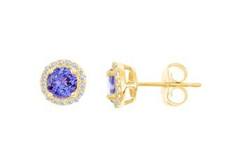 3.33 CARAT TANZANITE & DIAMOND STUD HALO EARRINGS 9mm ROUND 14KT YELLOW GOLD