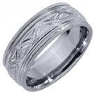 MENS WEDDING BAND ENGAGEMENT RING 14KT WHITE GOLD HIGH GLOSS 7mm