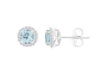 2.83 CARAT AQUAMARINE & DIAMOND STUD HALO EARRINGS 9mm ROUND STONE