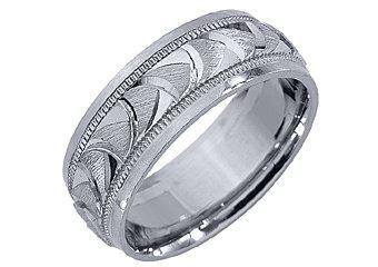 MENS WEDDING BAND ENGAGEMENT RING 14KT WHITE GOLD SATIN FINISH 7mm