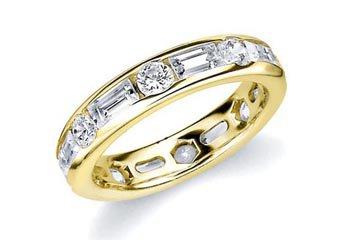 DIAMOND ETERNITY BAND WEDDING RING ROUND & BAGUETTE CUT YELLOW GOLD 2.70 CARATS