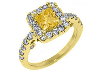 2 CARAT WOMENS YELLOW DIAMOND ENGAGEMENT HALO RING PRINCESS CUT YELLOW GOLD