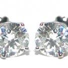 2 CARAT BRILLIANT ROUND CUT DIAMOND STUD EARRINGS 14KT WHITE GOLD SI3
