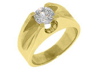 MENS 1.26 CARAT SOLITAIRE ROUND CUT DIAMOND RING WEDDING BAND TENSION SET GOLD