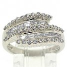 WOMENS 1 CARAT ROUND & BAGUETTE DISCOUNT DIAMOND RING WEDDING BAND WHITE GOLD