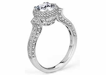 WOMENS DIAMOND ENGAGEMENT HALO RING BRILLIANT ROUND 2.05 CARATS 18KT WHITE GOLD